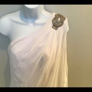 Women's white one shoulder dress Size 2